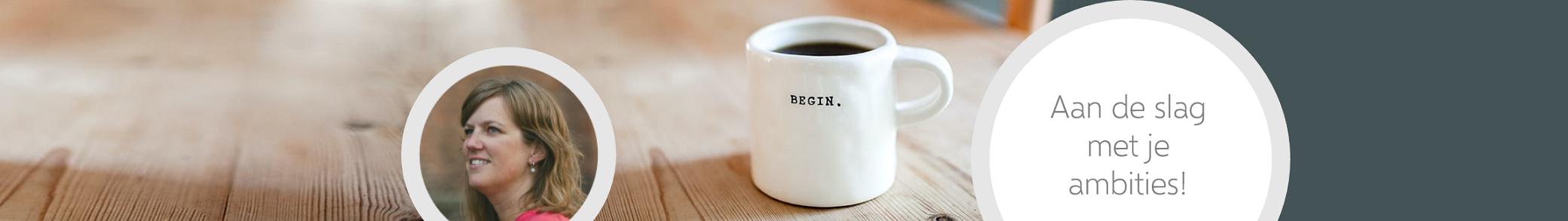 De header van de homepage met daarin de teksten 'Begin.' en 'Aan de slag met je ambities!'